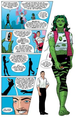 A rare non-cheesecake image of She-Hulk in torn clothing.
